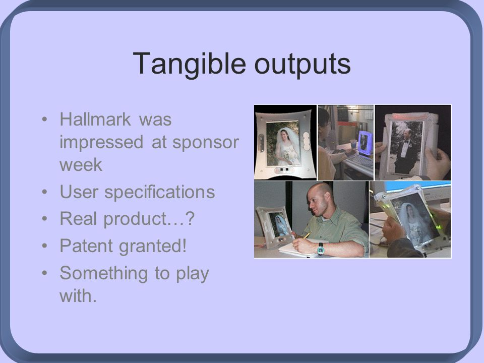 Tangible outputs Hallmark was impressed at sponsor week User specifications Real product….