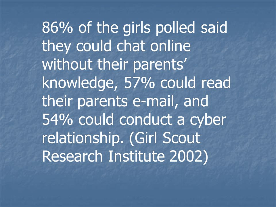 86% of the girls polled said they could chat online without their parents' knowledge, 57% could read their parents e-mail, and 54% could conduct a cyb