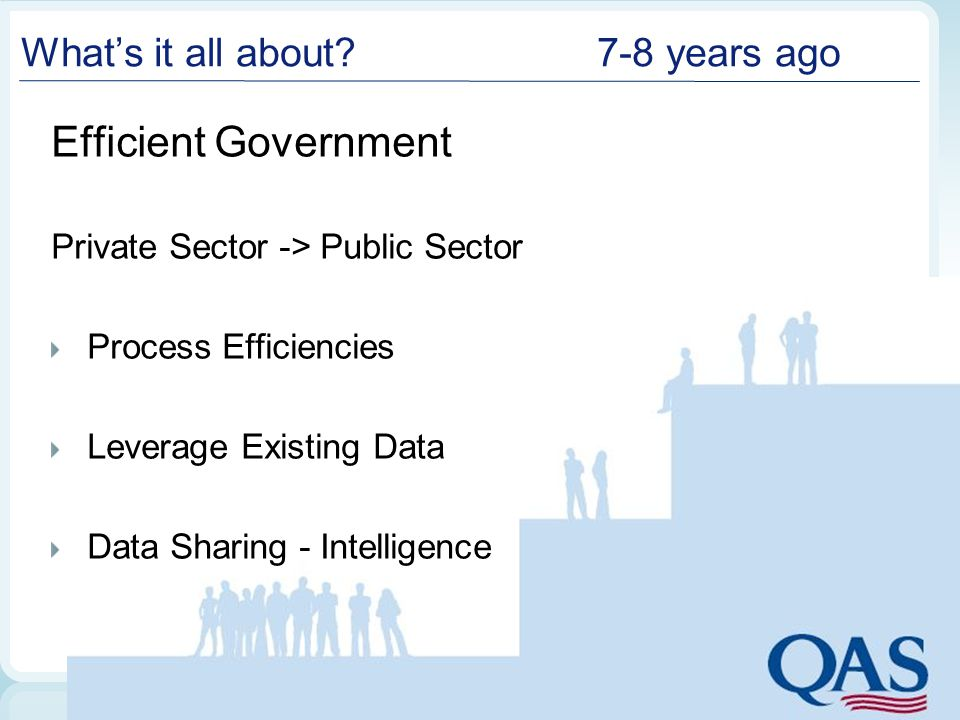 What's it all about?7-8 years ago Efficient Government Private Sector -> Public Sector Process Efficiencies Leverage Existing Data Data Sharing - Inte