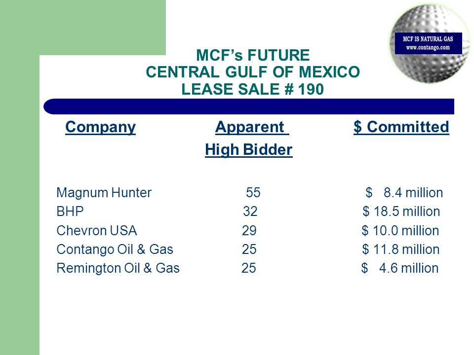 Company Apparent $ Committed High Bidder Magnum Hunter 55 $ 8.4 million BHP 32 $ 18.5 million Chevron USA 29 $ 10.0 million Contango Oil & Gas 25 $ 11.8 million Remington Oil & Gas 25 $ 4.6 million MCF's FUTURE CENTRAL GULF OF MEXICO LEASE SALE # 190