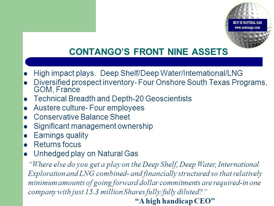 CONTANGO'S FRONT NINE ASSETS High impact plays.