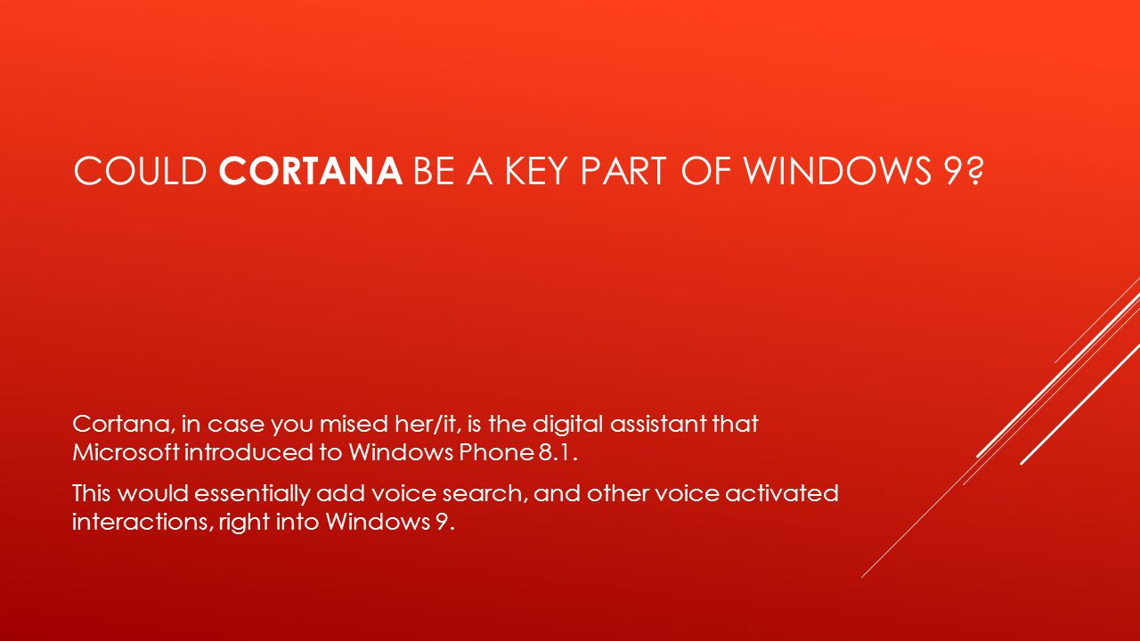 COULD CORTANA BE A KEY PART OF WINDOWS 9? Cortana, in case you mised her/it, is the digital assistant that Microsoft introduced to Windows Phone 8.1.