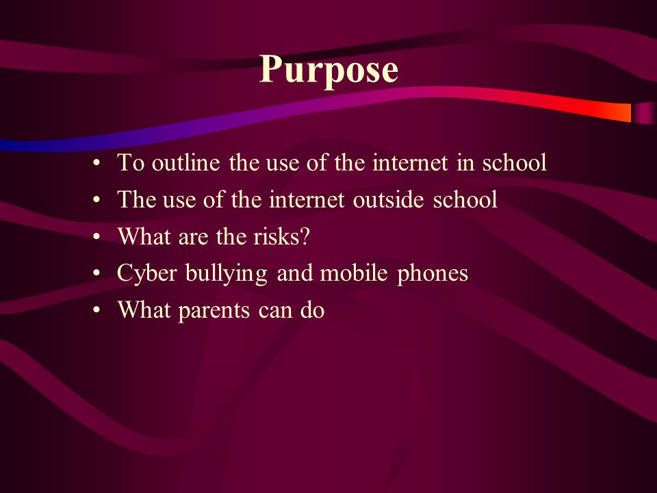 Purpose To outline the use of the internet in school The use of the internet outside school What are the risks.