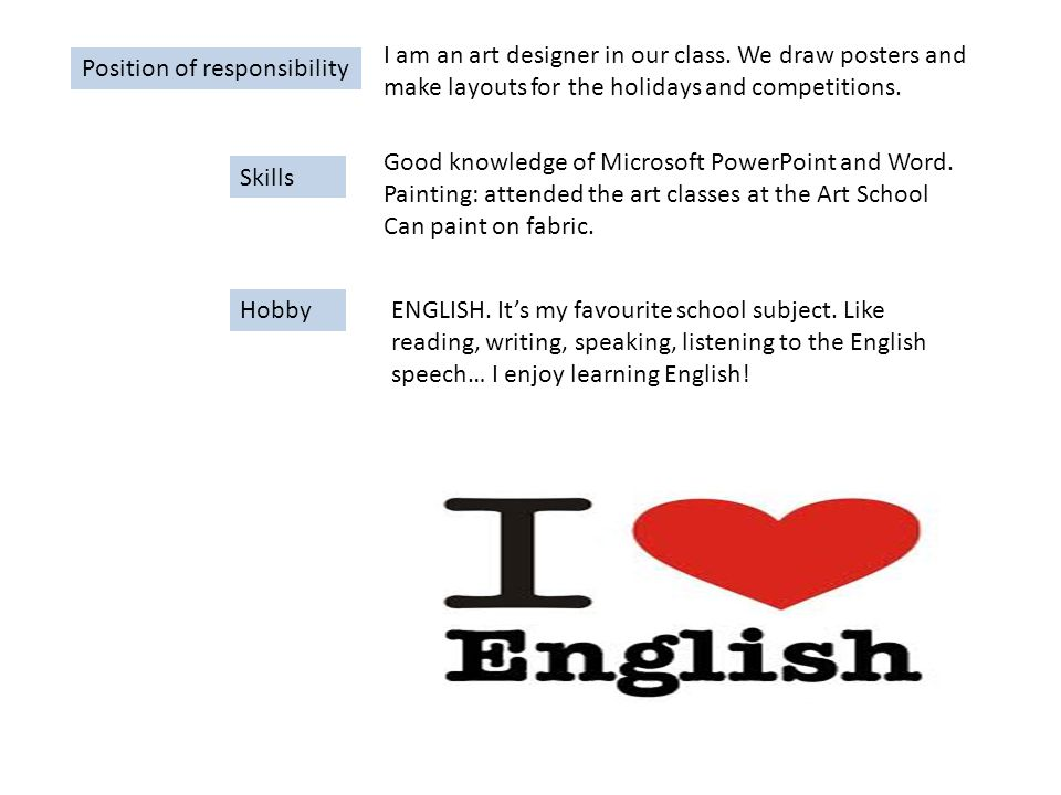 Position of responsibility I am an art designer in our class.