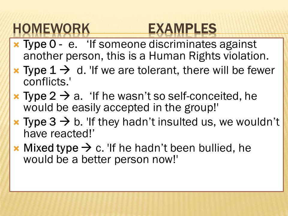  Type 0 - e. 'If someone discriminates against another person, this is a Human Rights violation.