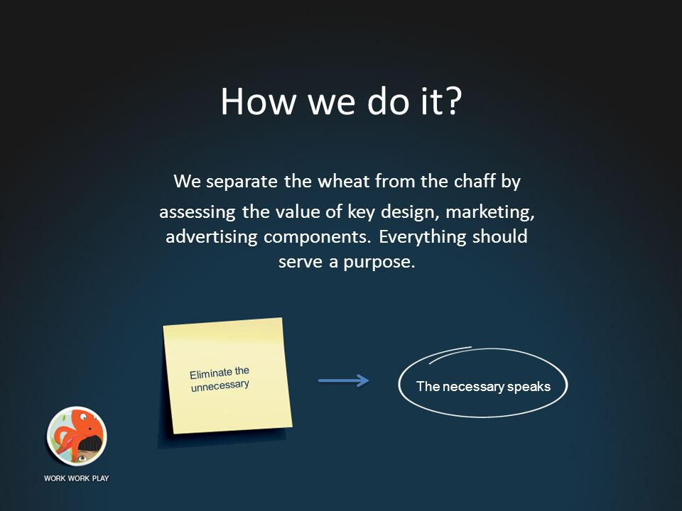 How we do it? We separate the wheat from the chaff by assessing the value of key design, marketing, advertising components. Everything should serve a