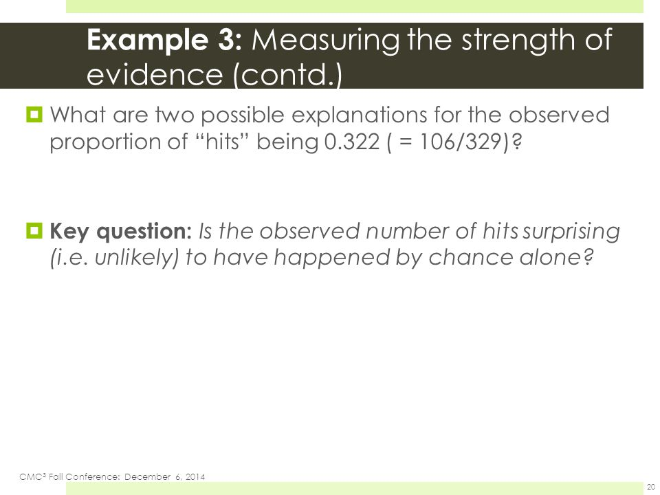 "Example 3: Measuring the strength of evidence (contd.)  What are two possible explanations for the observed proportion of ""hits"" being 0.322 ( = 106/"