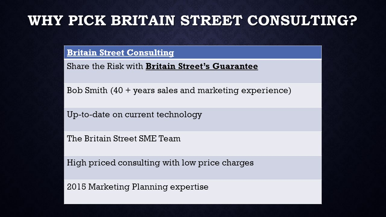 WHY PICK BRITAIN STREET CONSULTING.