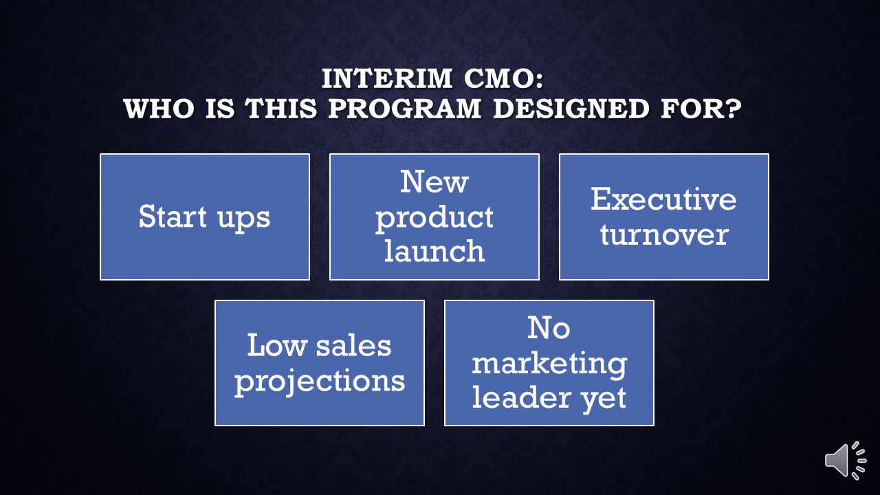 INTERIM CMO: WHO IS THIS PROGRAM DESIGNED FOR.
