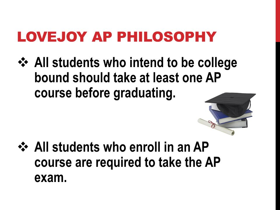 AP EXAMS Approximately 3 hours in length Two sections: Multiple Choice (about 60 - 75 questions) Free Response (essays and/or problems) Scored on a scale of 1 to 5 Scores of 3, 4, and 5 usually considered to be equivalent to college scores of C, B, and A