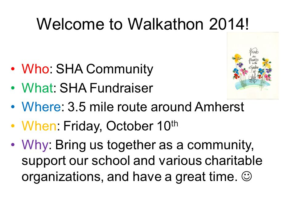 Welcome to Walkathon 2014.