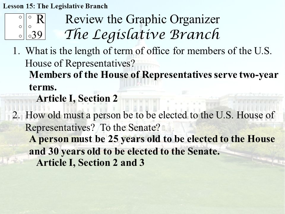Review the Graphic Organizer The Legislative Branch 1.