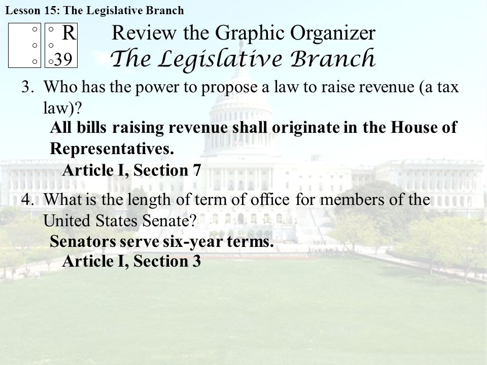 Review the Graphic Organizer The Legislative Branch 3.