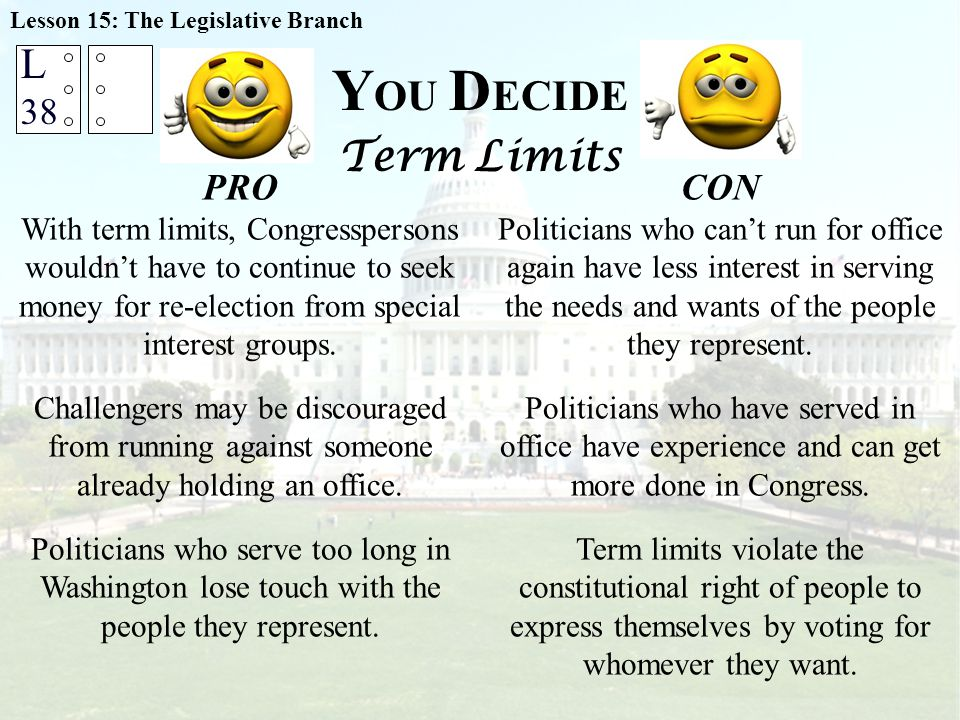 Y OU D ECIDE Term Limits Lesson 15: The Legislative Branch PRO With term limits, Congresspersons wouldn't have to continue to seek money for re-election from special interest groups.