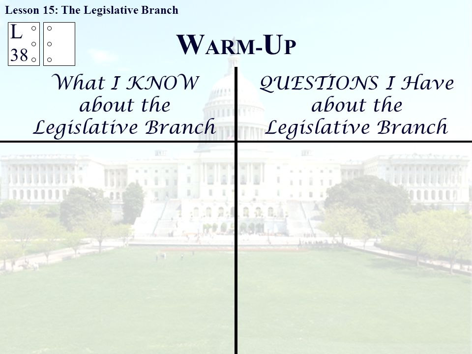 W ARM- U P What I KNOW about the Legislative Branch QUESTIONS I Have about the Legislative Branch Lesson 15: The Legislative Branch L 38