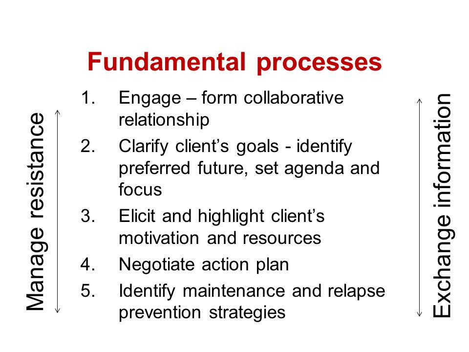 Fundamental processes- managing Resistance Working with involuntary client Start with compliment acknowledging the client's showing up to session.