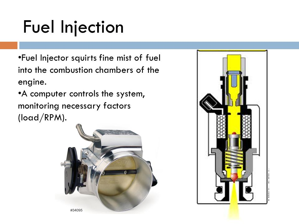 Fuel Injector squirts fine mist of fuel into the combustion chambers of the engine.