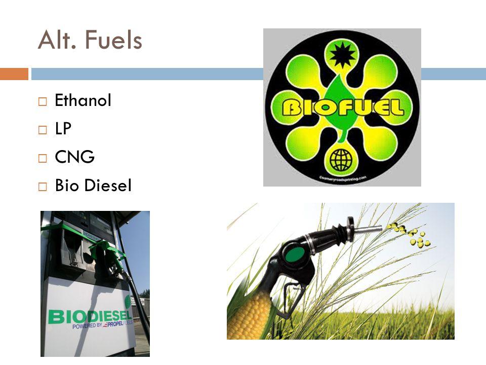 Alt. Fuels  Ethanol  LP  CNG  Bio Diesel