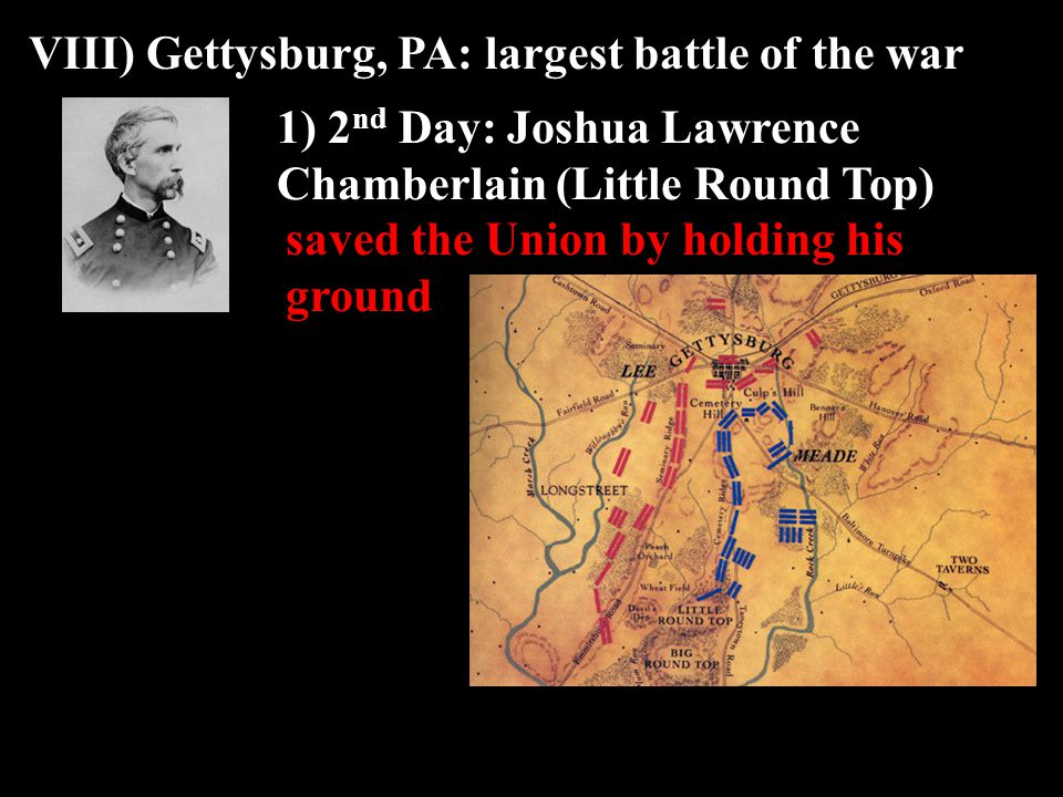 VIII) Gettysburg, PA: largest battle of the war 1) 2 nd Day: Joshua Lawrence Chamberlain (Little Round Top) saved the Union by holding his ground