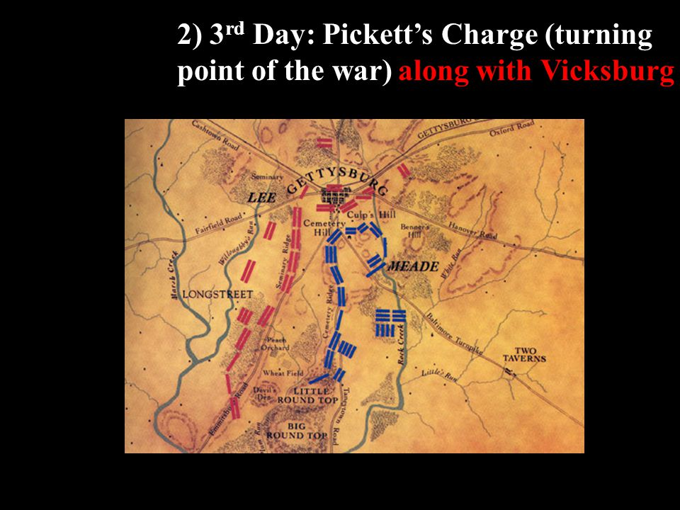 2) 3 rd Day: Pickett's Charge (turning point of the war) along with Vicksburg