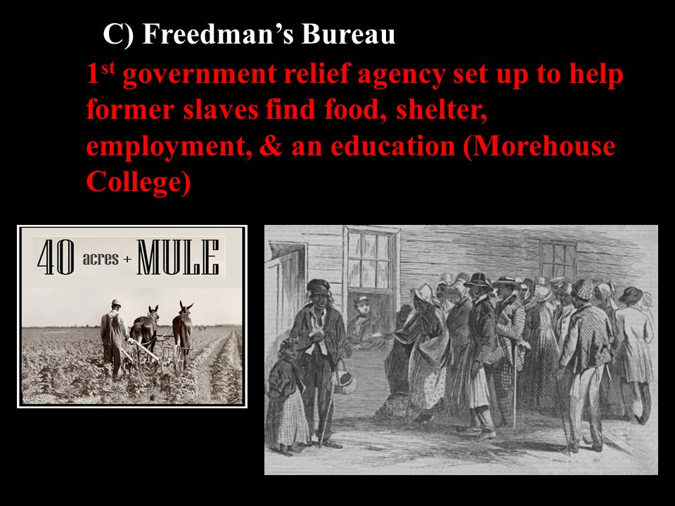 C) Freedman's Bureau 1 st government relief agency set up to help former slaves find food, shelter, employment, & an education (Morehouse College)