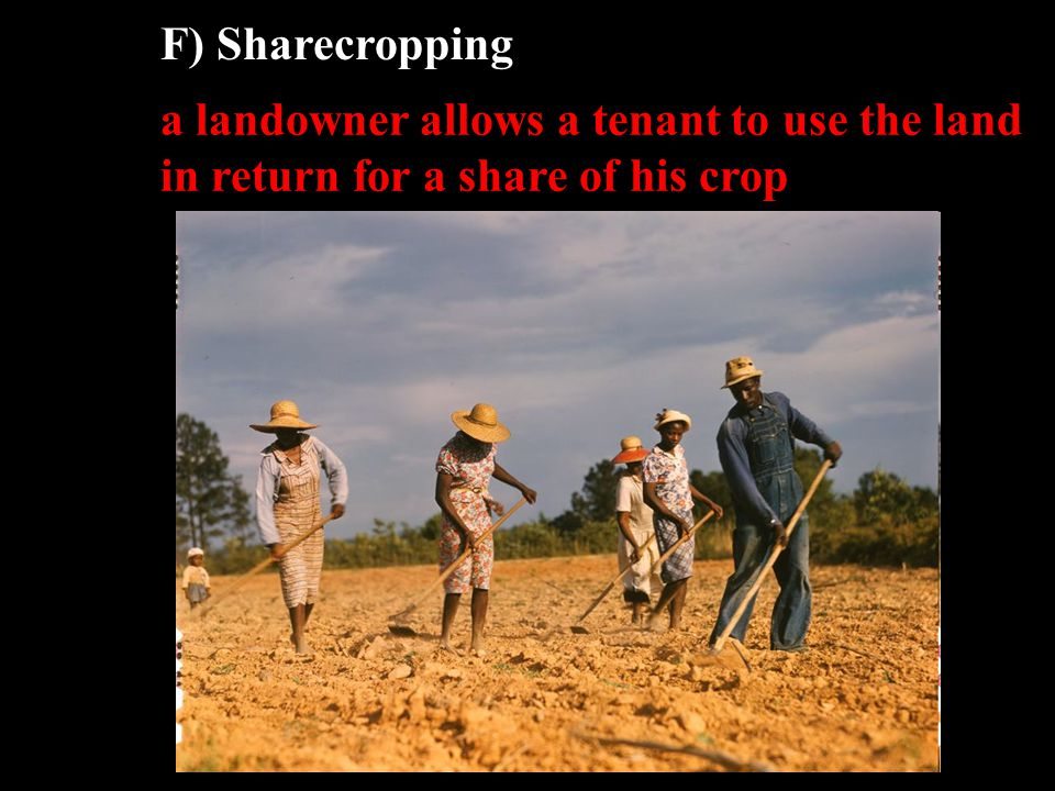 F) Sharecropping a landowner allows a tenant to use the land in return for a share of his crop