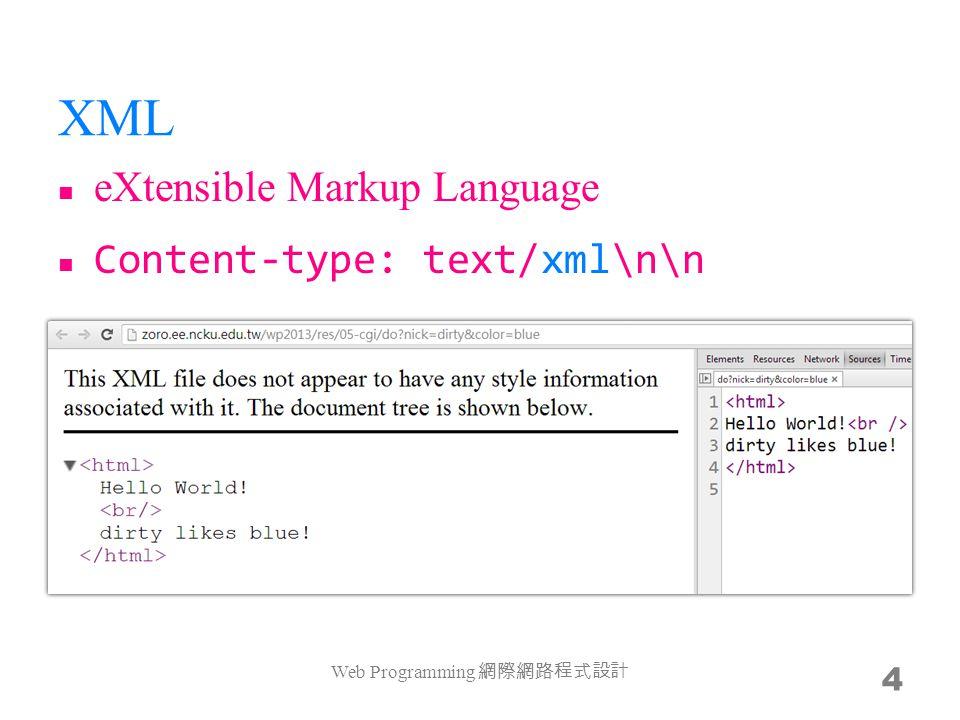 XML eXtensible Markup Language Content-type: text/xml\n\n Web Programming 網際網路程式設計 4