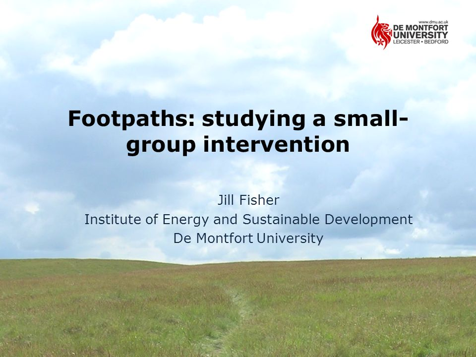 Footpaths: studying a small- group intervention Jill Fisher Institute of Energy and Sustainable Development De Montfort University