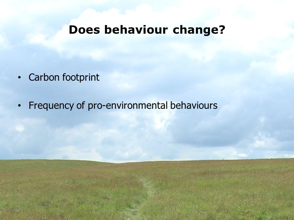 Does behaviour change Carbon footprint Frequency of pro-environmental behaviours