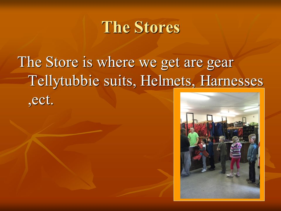 The Stores The Store is where we get are gear Tellytubbie suits, Helmets, Harnesses,ect.