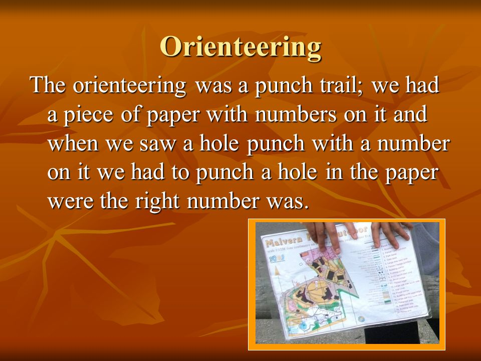 Orienteering The orienteering was a punch trail; we had a piece of paper with numbers on it and when we saw a hole punch with a number on it we had to punch a hole in the paper were the right number was.