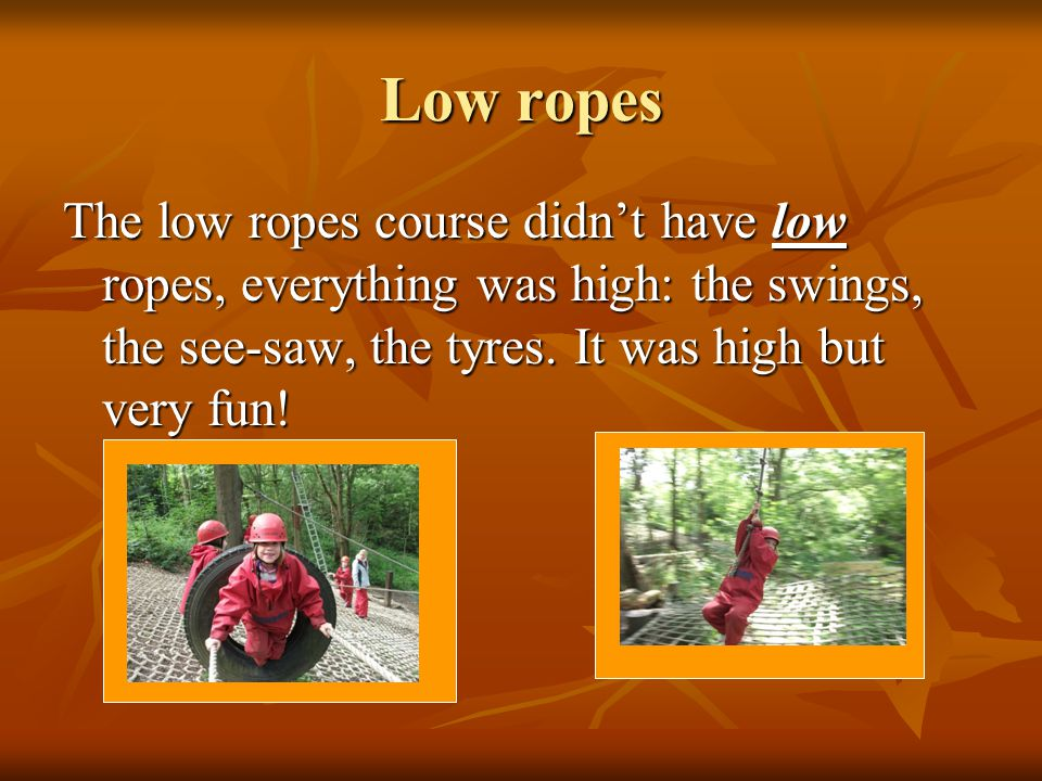Low ropes The low ropes course didn't have low ropes, everything was high: the swings, the see-saw, the tyres.