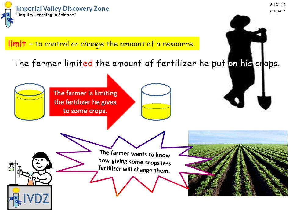 """limit – to control or change the amount of a resource. IVDZ Imperial Valley Discovery Zone """"Inquiry Learning in Science"""" The farmer limited the amount"""