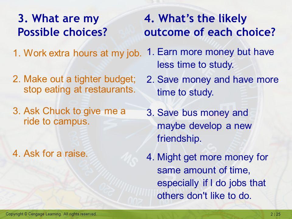 2   25 Copyright © Cengage Learning. All rights reserved. 1.Work extra hours at my job. 2.Make out a tighter budget; stop eating at restaurants. 3.Ask