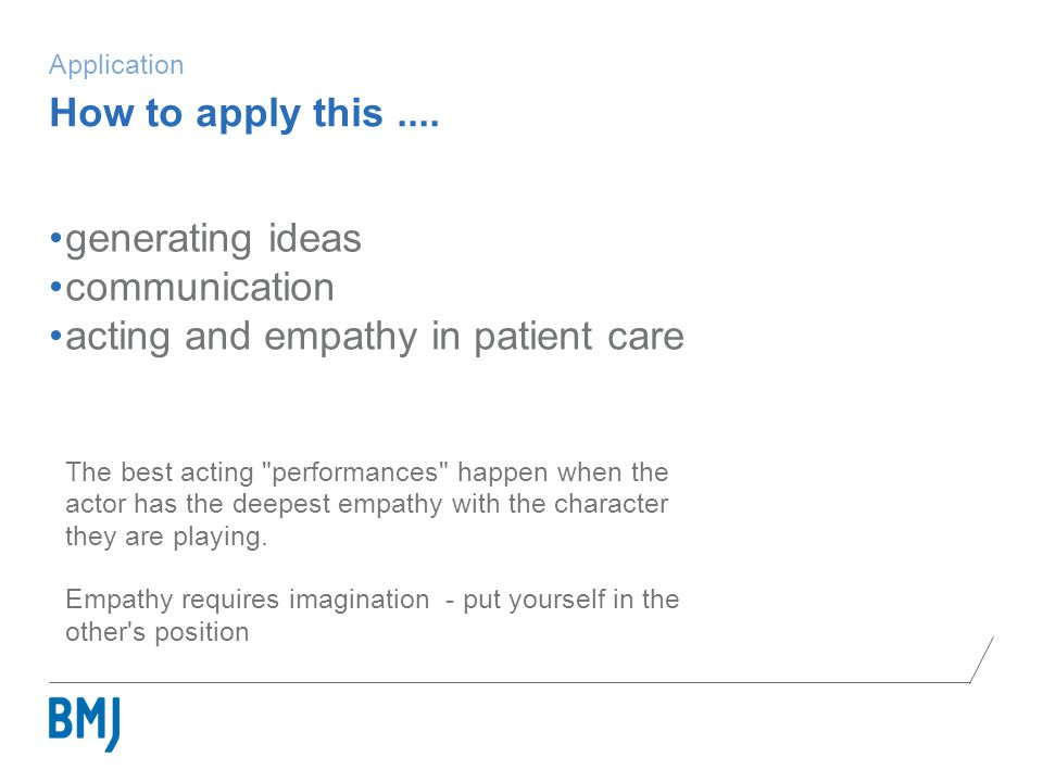Application generating ideas communication acting and empathy in patient care The best acting performances happen when the actor has the deepest empathy with the character they are playing.