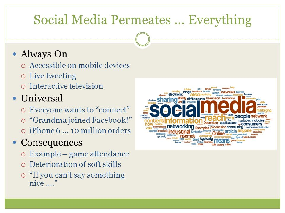 Social Media Permeates … Everything Always On  Accessible on mobile devices  Live tweeting  Interactive television Universal  Everyone wants to connect  Grandma joined Facebook!  iPhone 6 … 10 million orders Consequences  Example – game attendance  Deterioration of soft skills  If you can't say something nice ….