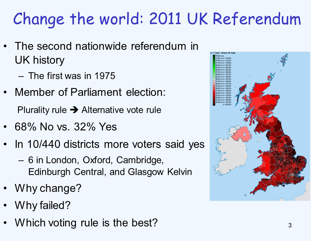The second nationwide referendum in UK history –The first was in 1975 Member of Parliament election: Plurality rule  Alternative vote rule 68% No vs.