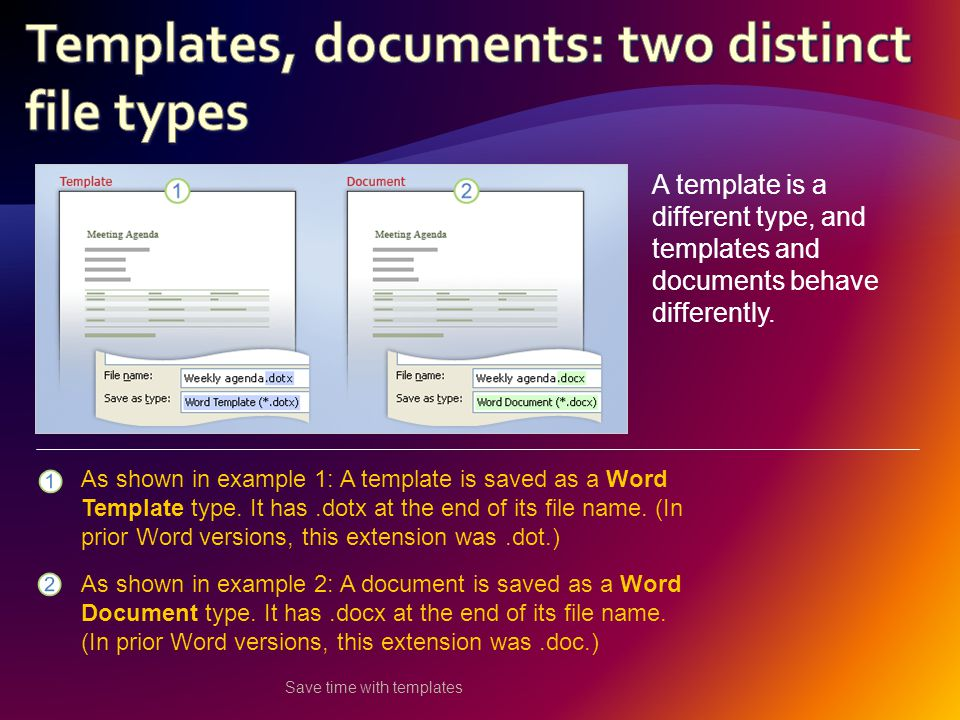Save time with templates A template is a different type, and templates and documents behave differently.