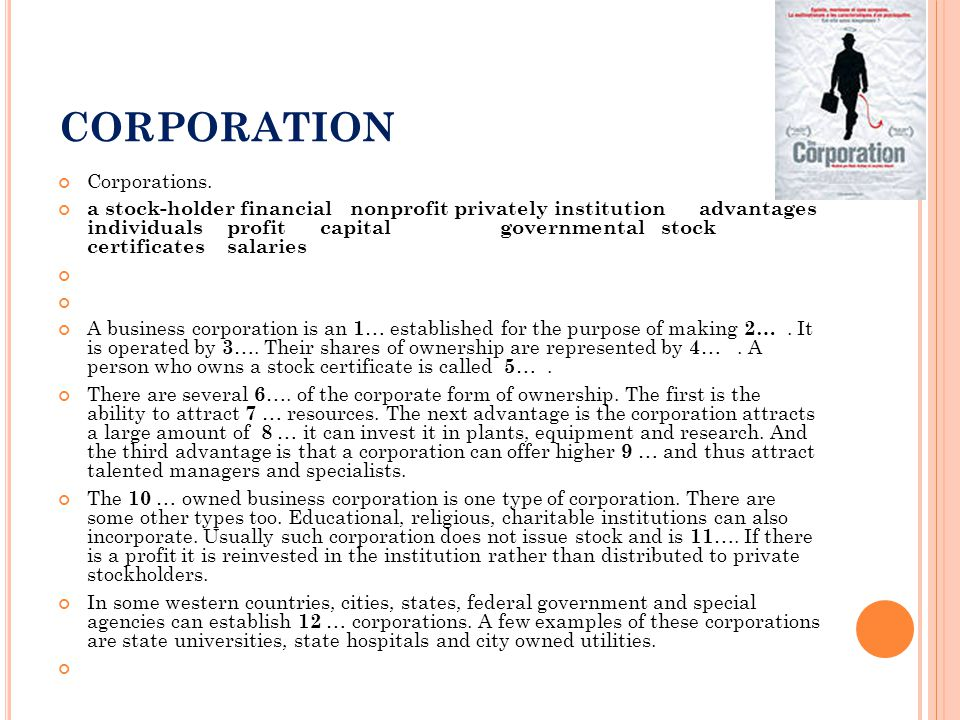 CORPORATION Corporations. a stock-holder financial nonprofit privately institution advantages individuals profit capital governmental stock certificat