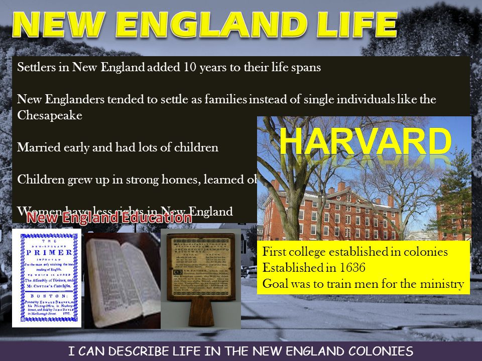 Settlers in New England added 10 years to their life spans New Englanders tended to settle as families instead of single individuals like the Chesapea