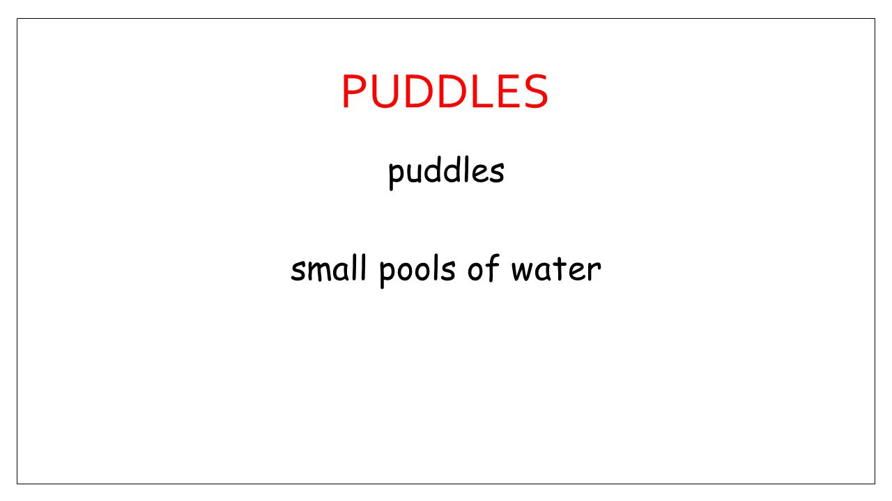 PUDDLES puddles small pools of water