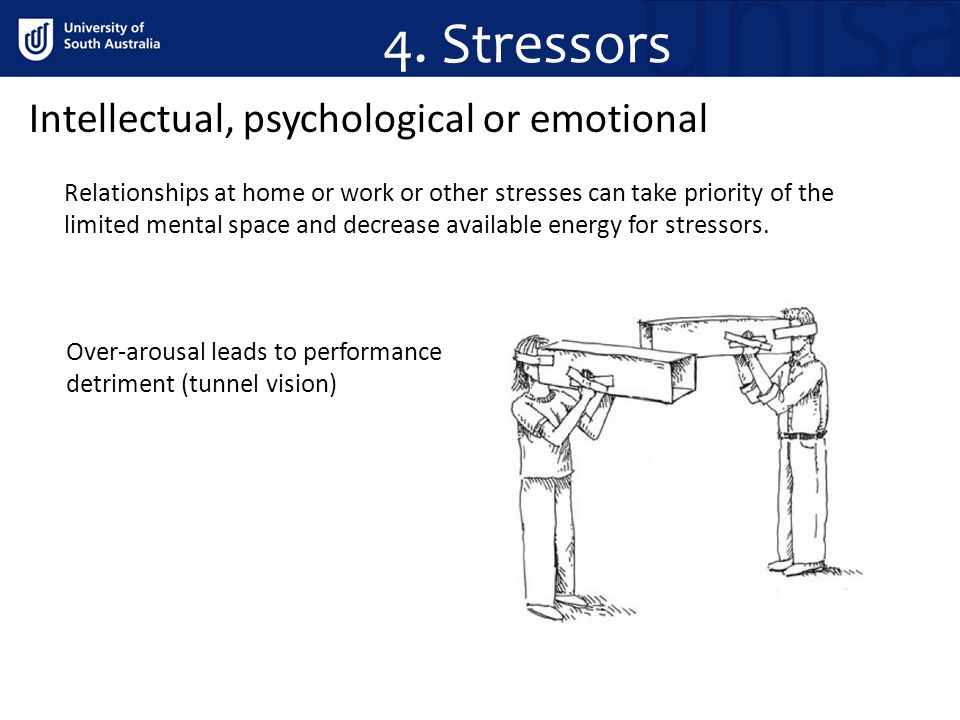 Intellectual, psychological or emotional Relationships at home or work or other stresses can take priority of the limited mental space and decrease available energy for stressors.