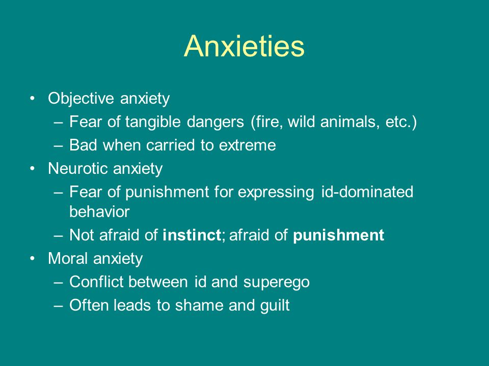 Anxieties Objective anxiety –Fear of tangible dangers (fire, wild animals, etc.) –Bad when carried to extreme Neurotic anxiety –Fear of punishment for expressing id-dominated behavior –Not afraid of instinct; afraid of punishment Moral anxiety –Conflict between id and superego –Often leads to shame and guilt