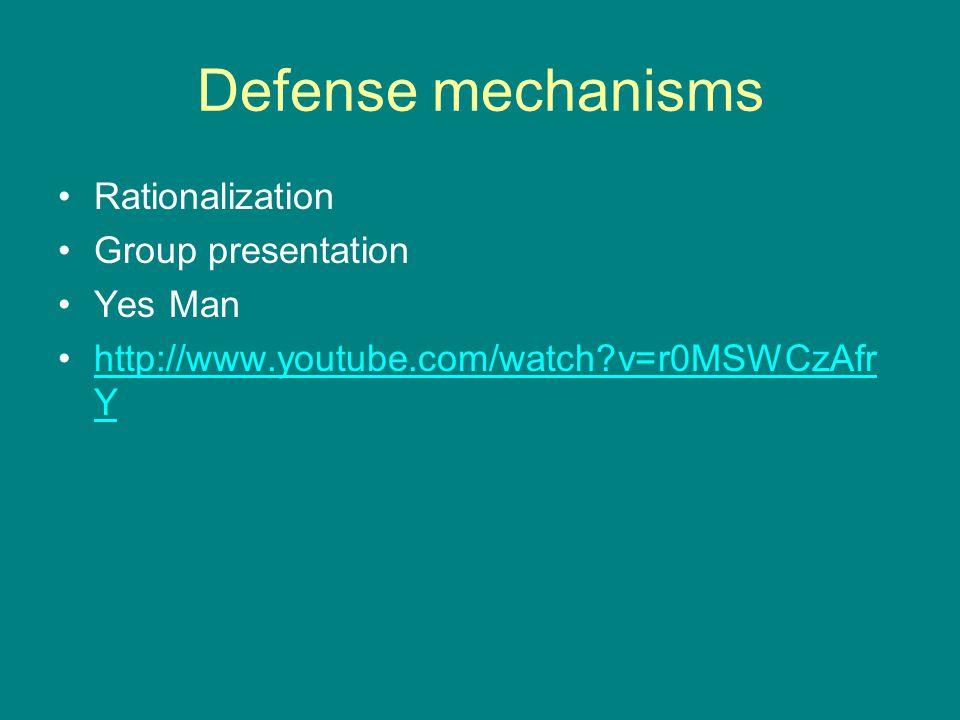 Defense mechanisms Rationalization Group presentation Yes Man http://www.youtube.com/watch?v=r0MSWCzAfr Yhttp://www.youtube.com/watch?v=r0MSWCzAfr Y