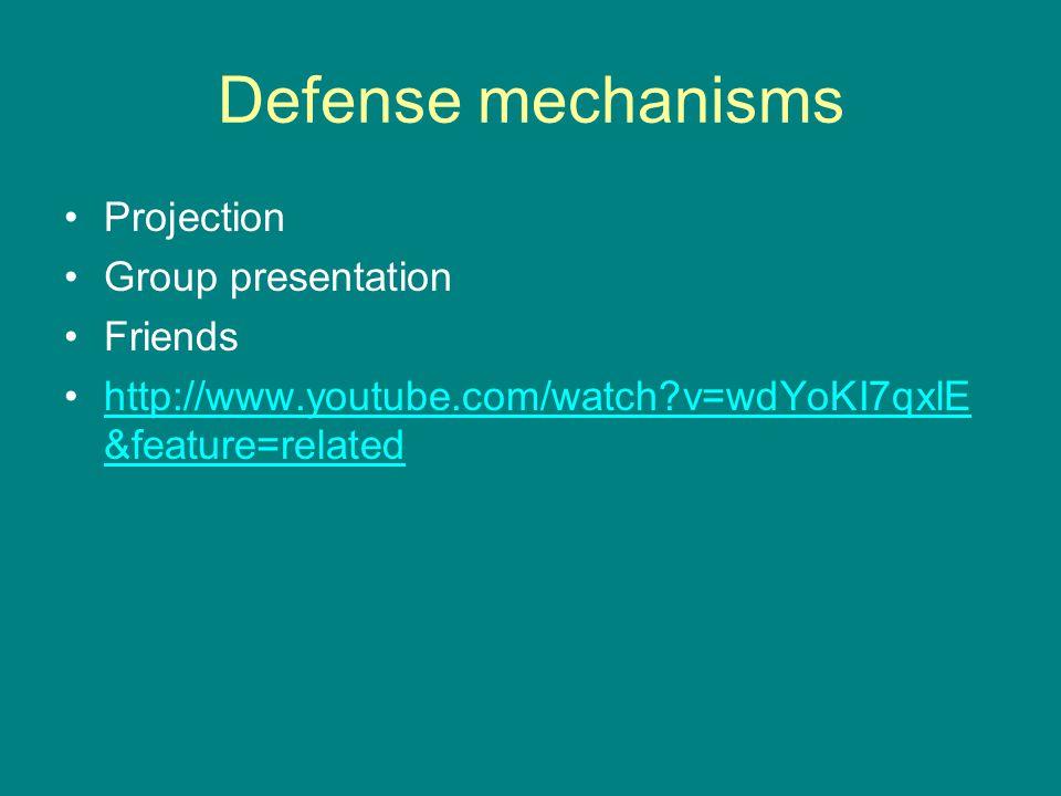Defense mechanisms Projection Group presentation Friends http://www.youtube.com/watch?v=wdYoKI7qxlE &feature=relatedhttp://www.youtube.com/watch?v=wdYoKI7qxlE &feature=related
