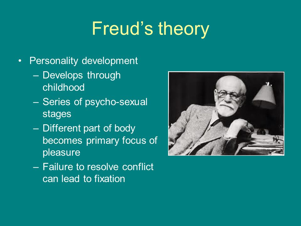 Freud's theory Personality development –Develops through childhood –Series of psycho-sexual stages –Different part of body becomes primary focus of pleasure –Failure to resolve conflict can lead to fixation
