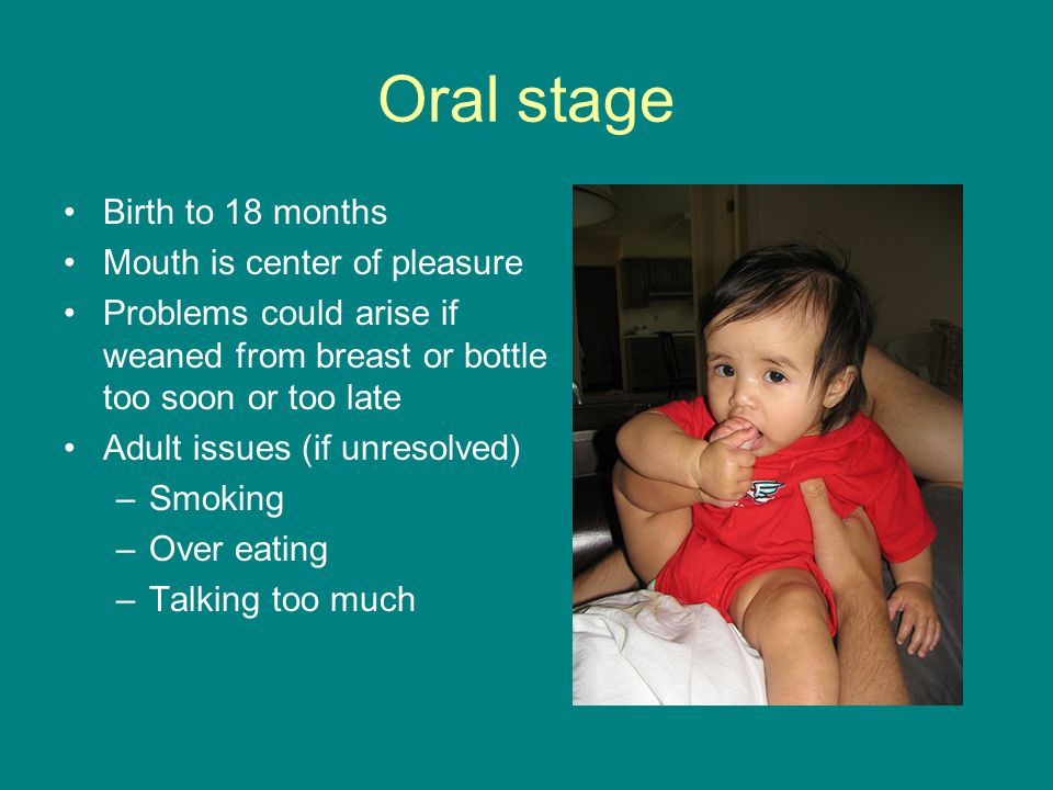 Oral stage Birth to 18 months Mouth is center of pleasure Problems could arise if weaned from breast or bottle too soon or too late Adult issues (if unresolved) –Smoking –Over eating –Talking too much