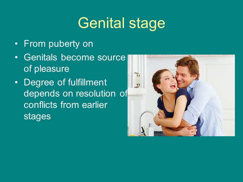 Genital stage From puberty on Genitals become source of pleasure Degree of fulfillment depends on resolution of conflicts from earlier stages