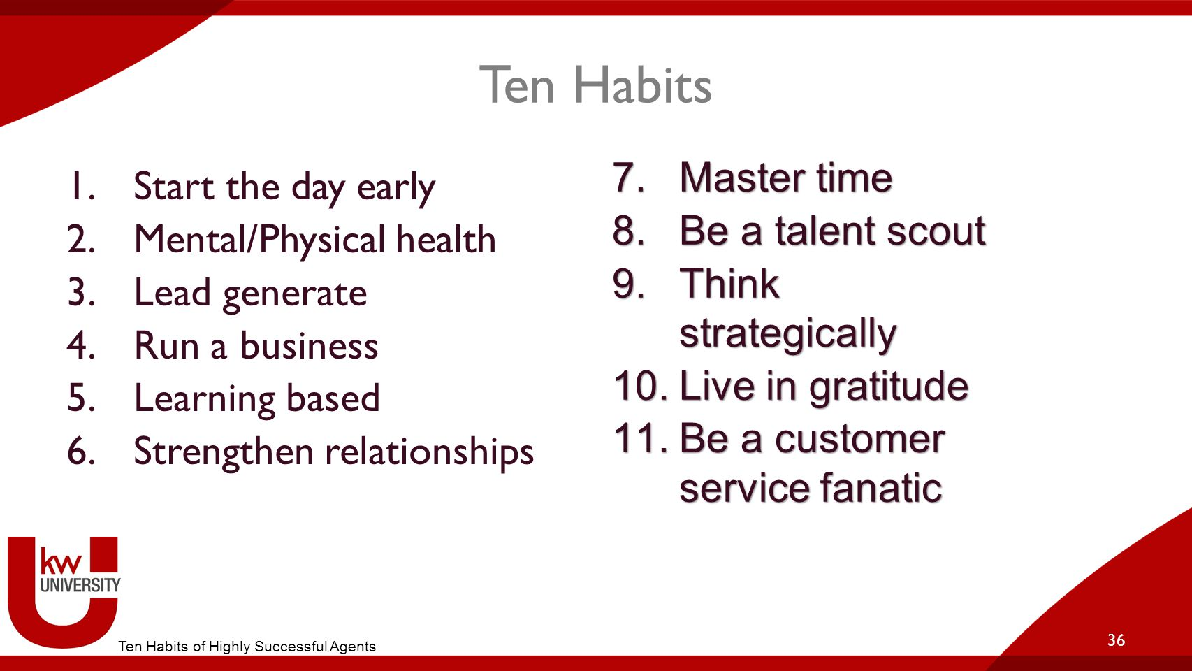 Ten Habits 1.Start the day early 2.Mental/Physical health 3.Lead generate 4.Run a business 5.Learning based 6.Strengthen relationships 36 7.Master tim