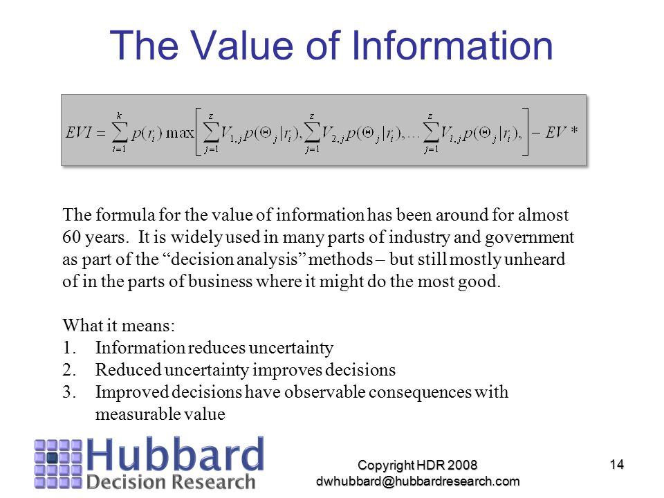 The Value of Information Copyright HDR 2008 dwhubbard@hubbardresearch.com 14 The formula for the value of information has been around for almost 60 ye